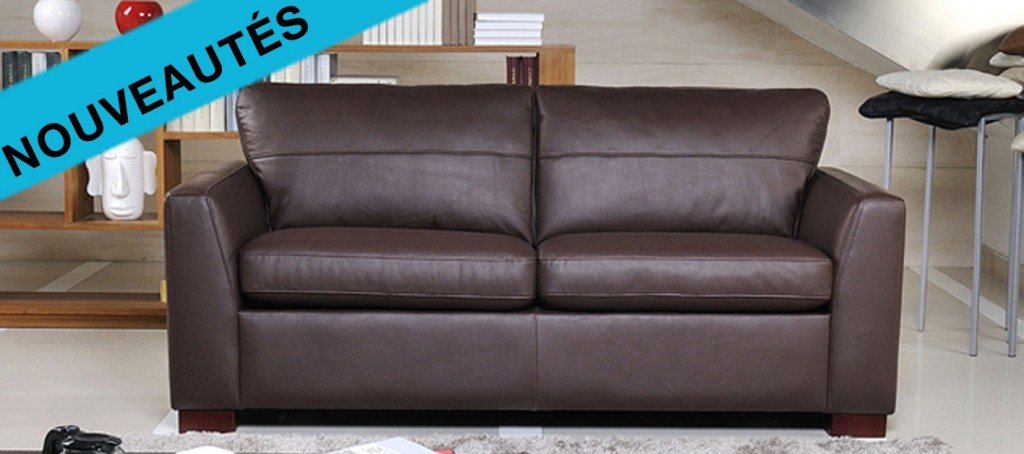 canape cuir 2 places convertible