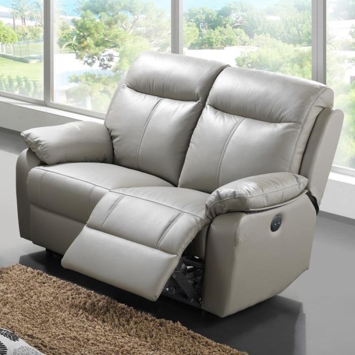 canape cuir 2 places relax electrique