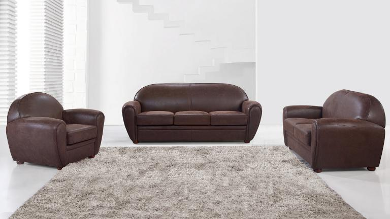 canape cuir 3 places + fauteuil