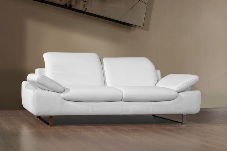 canape cuir blanc 2 places design