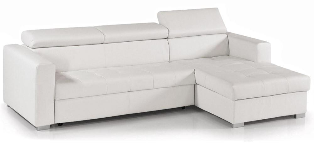 canape cuir blanc angle convertible