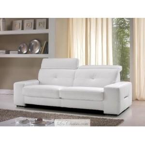 canape cuir blanc avec tetieres