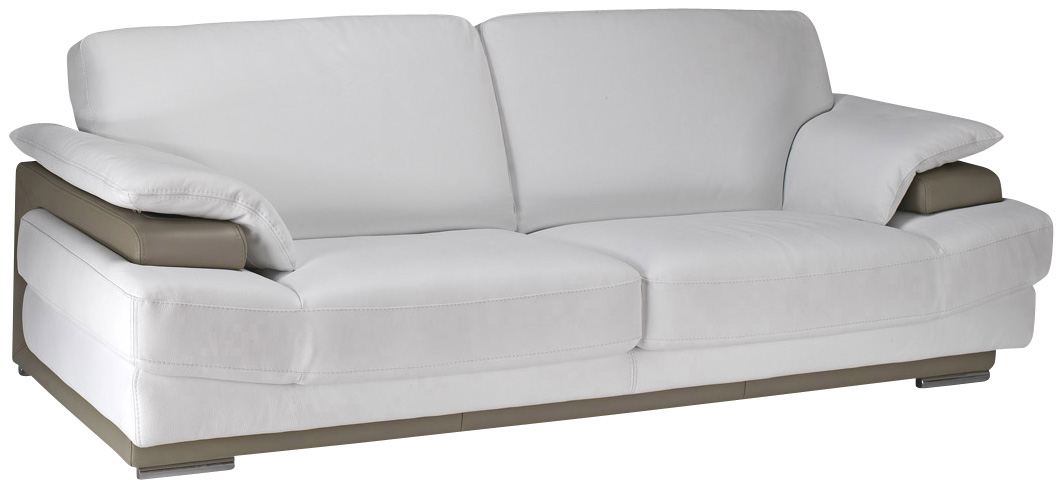 canape cuir blanc beige