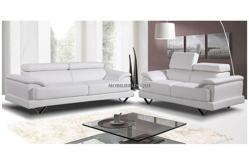 canape cuir blanc confortable