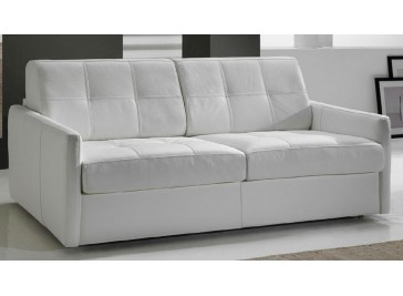 canape cuir blanc convertible 2 places