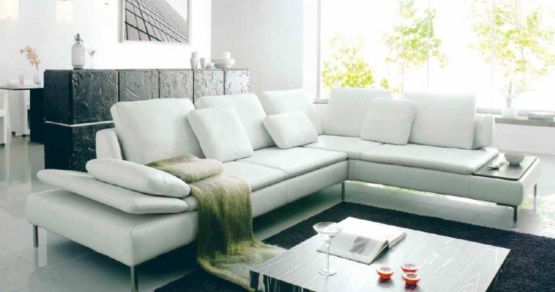 canape cuir blanc droit