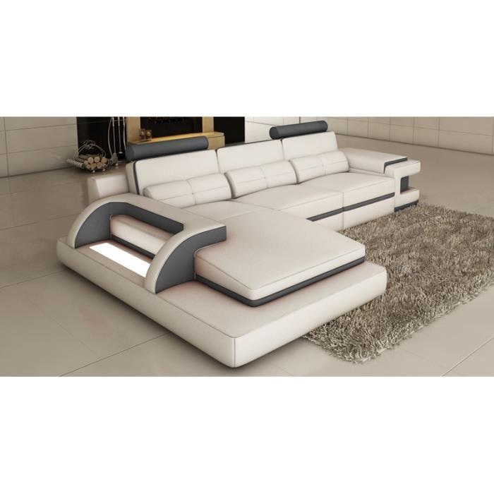 canape cuir blanc et gris