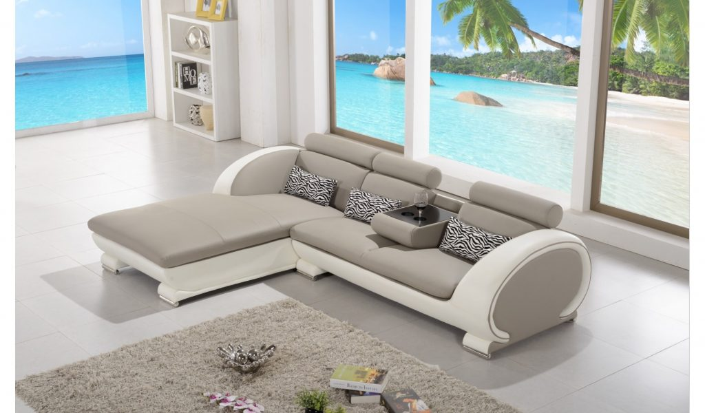 canape cuir blanc et taupe