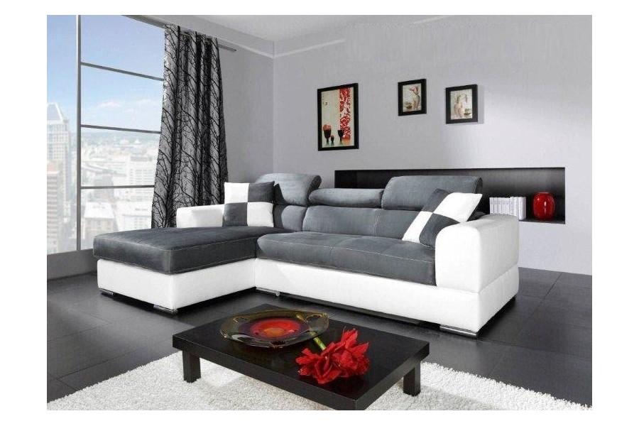 canape cuir blanc gris