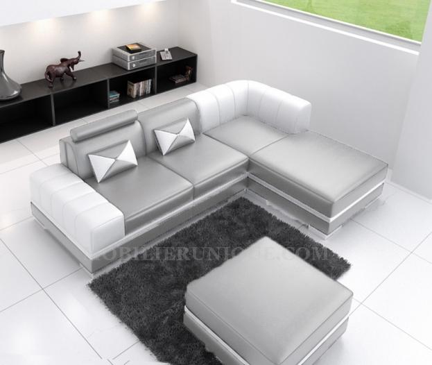 canape cuir blanc gris - Canape Blanc Et Gris