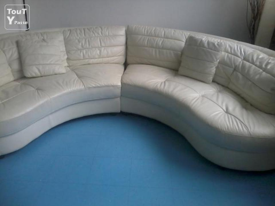 canape cuir blanc habitat