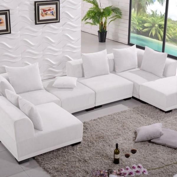 canape cuir blanc modulable