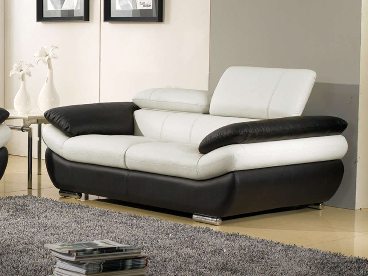 Canape Cuir Blanc Noir
