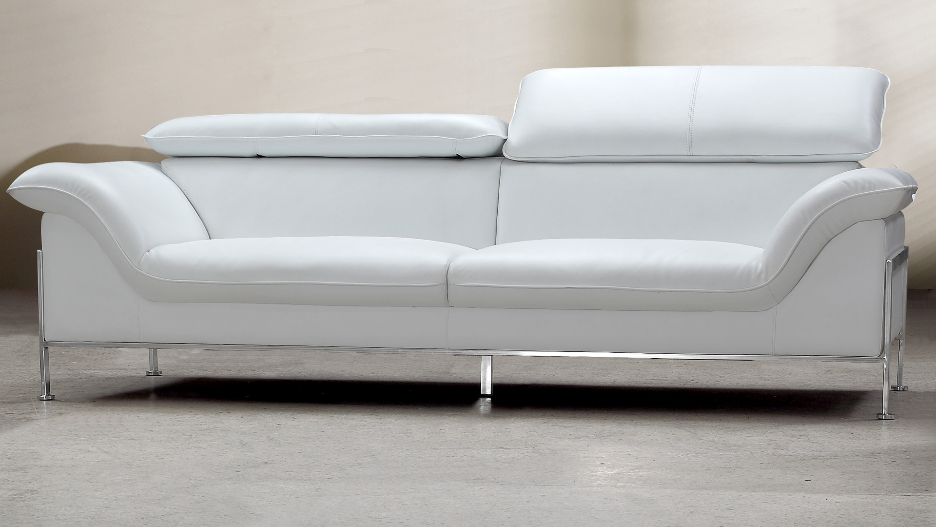 canape cuir blanc pied metal