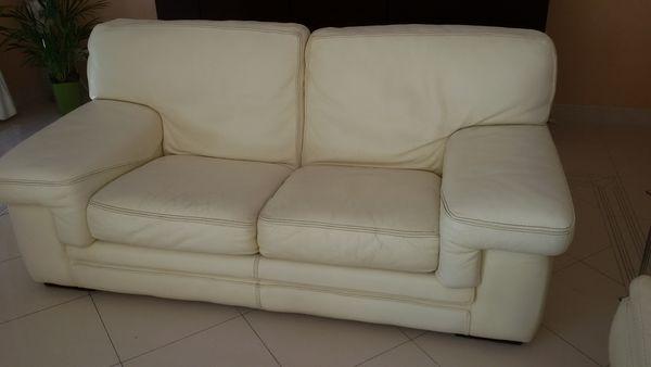 canape cuir blanc roche et bobois