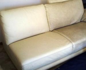 canape cuir blanc tache