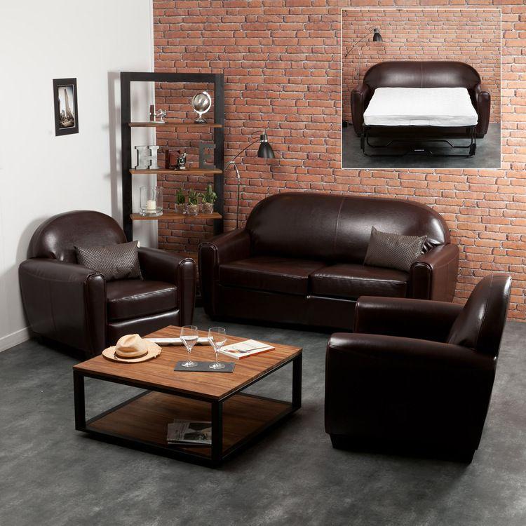 canape cuir convertible et fauteuil