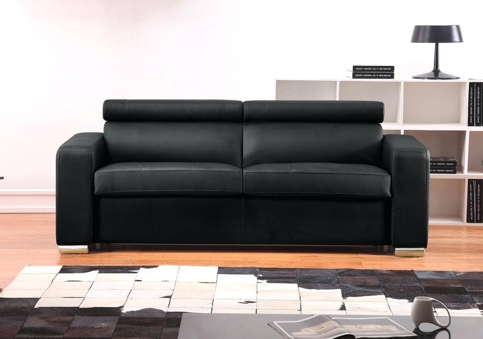 canape cuir convertible noir