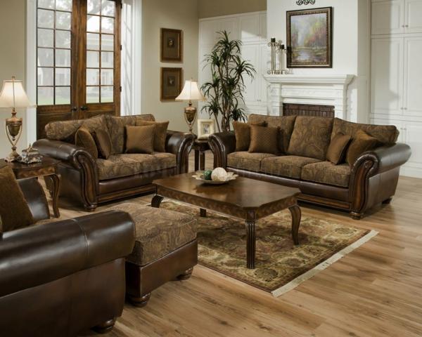 canape cuir et bois massif