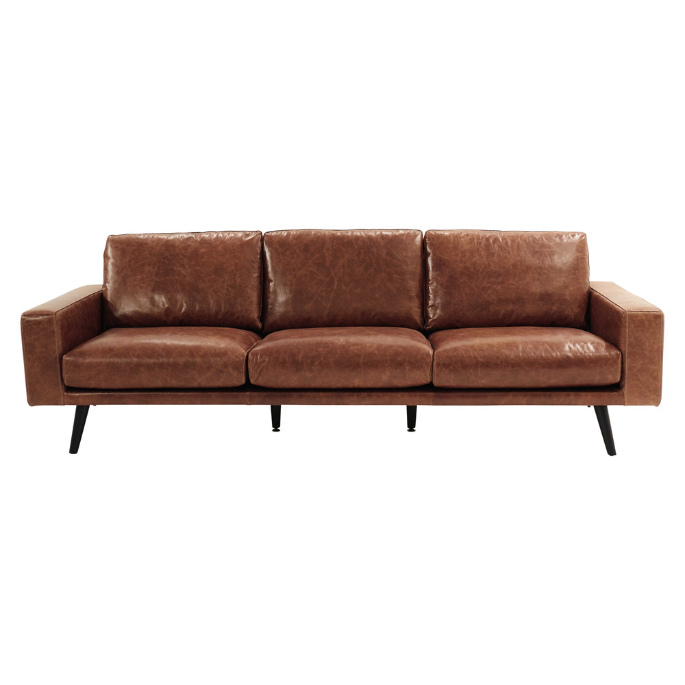 canape cuir marron 4 places
