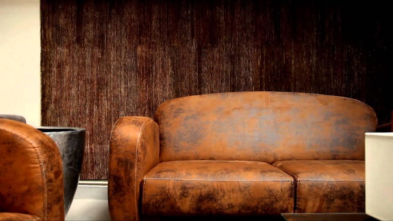 canape cuir marron effet vieilli