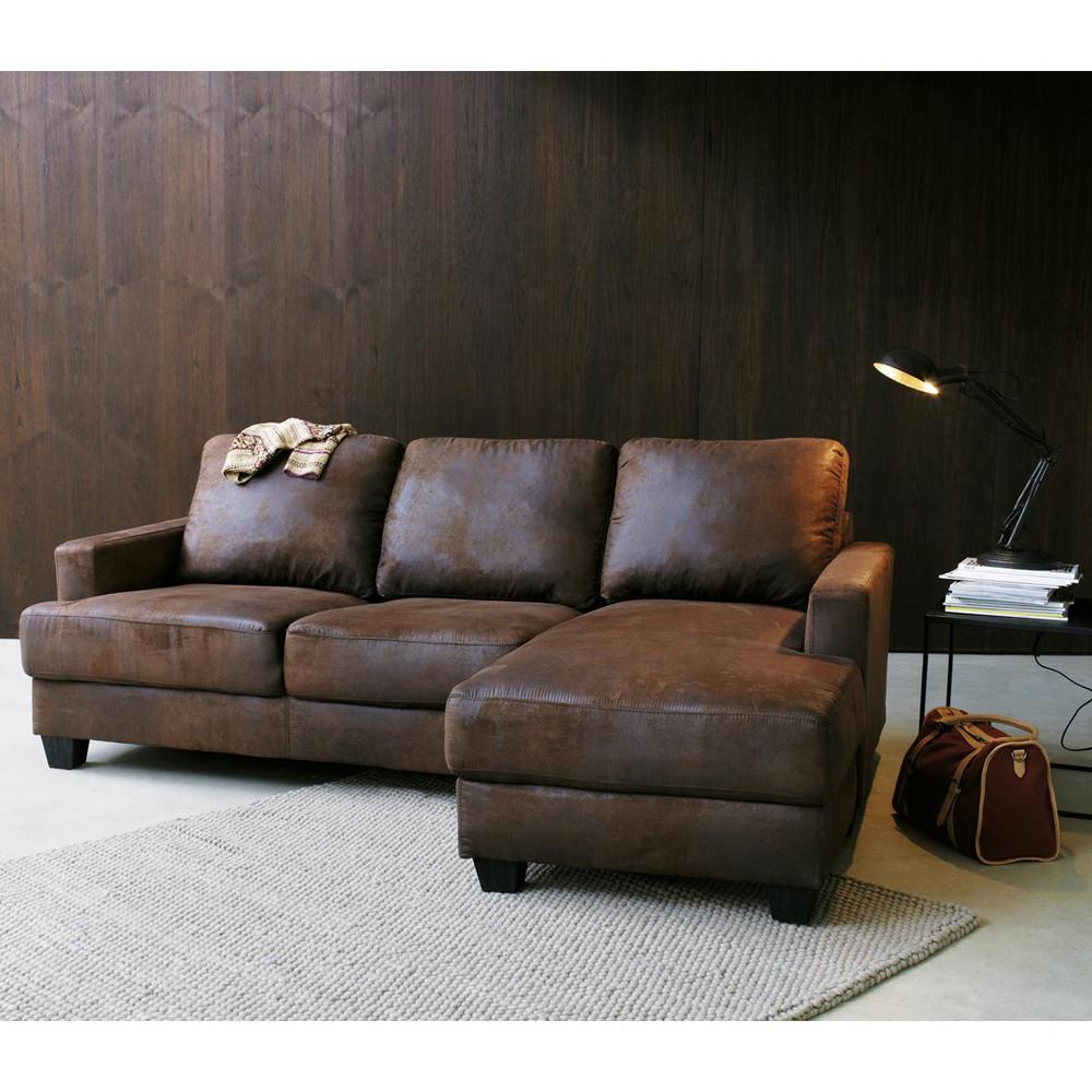 canape cuir marron maison du monde