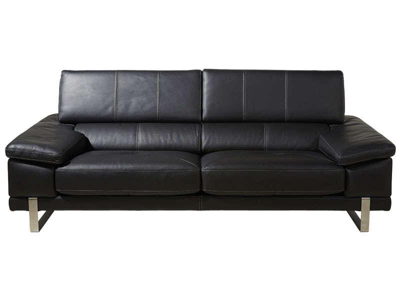 canape cuir noir 3 places conforama