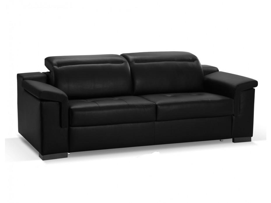 canape cuir noir 3 places convertible