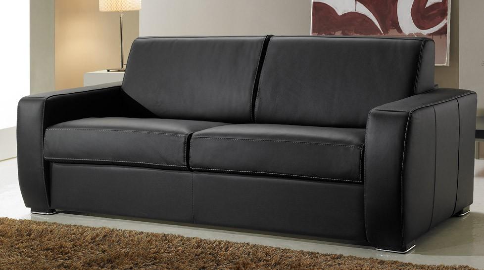 canape cuir noir 3 places