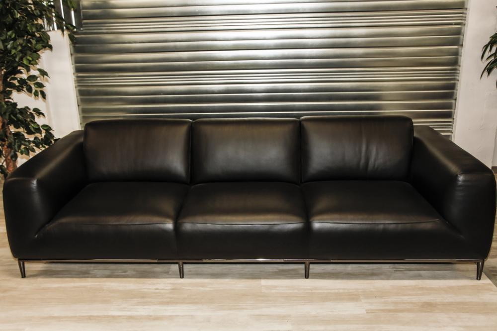 canape cuir noir abime