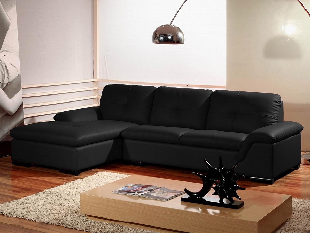 canape cuir noir angle