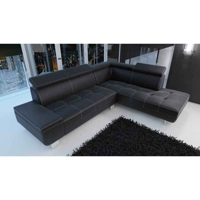 canape cuir noir couture blanche