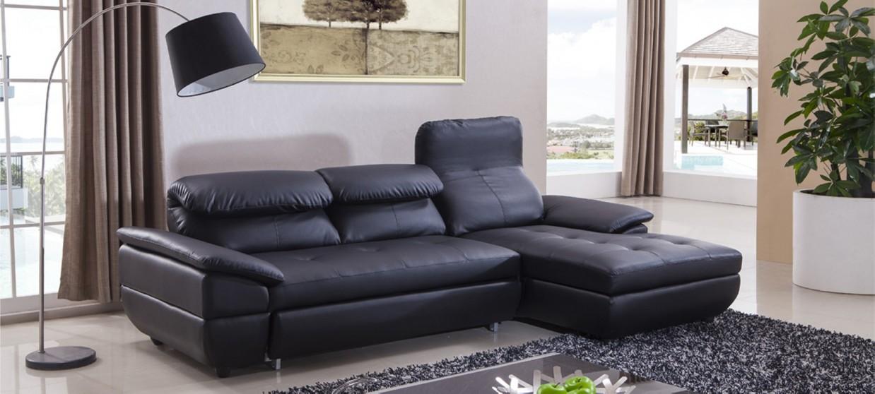 canape cuir noir d'angle