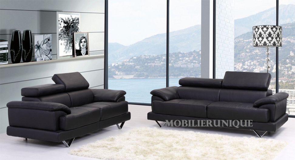 canape cuir noir design italien