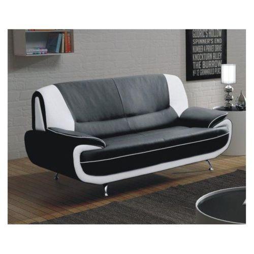 canape cuir noir et blanc