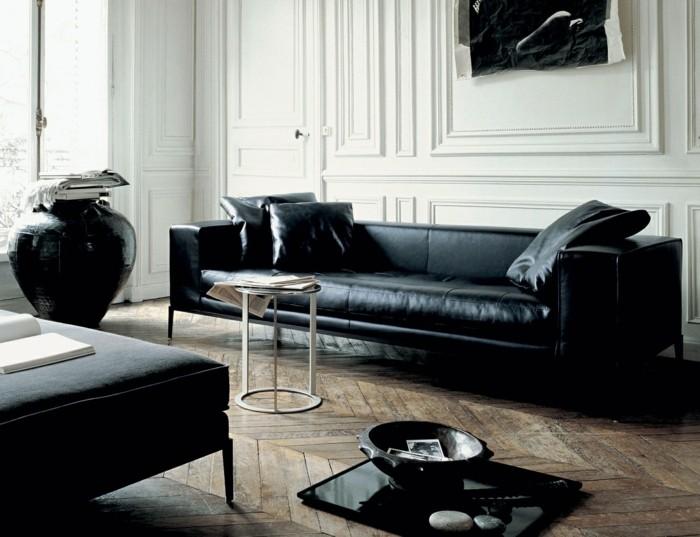 canape cuir noir et bois