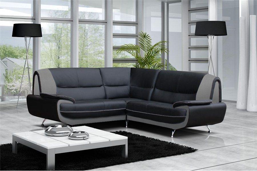canape cuir noir et gris