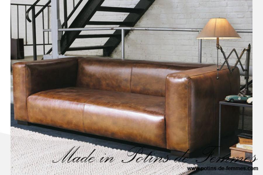 canape cuir noir industriel