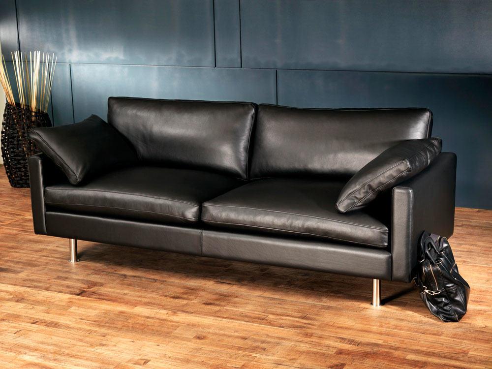 canape cuir noir italien