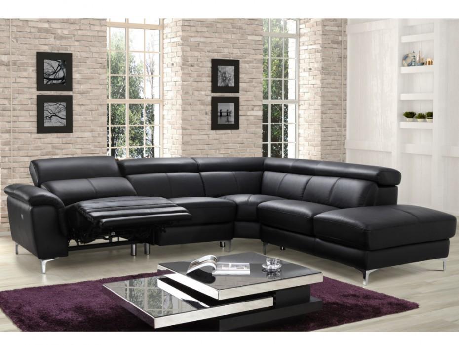 canape cuir noir relax electrique