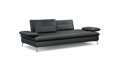 canape cuir noir roche bobois