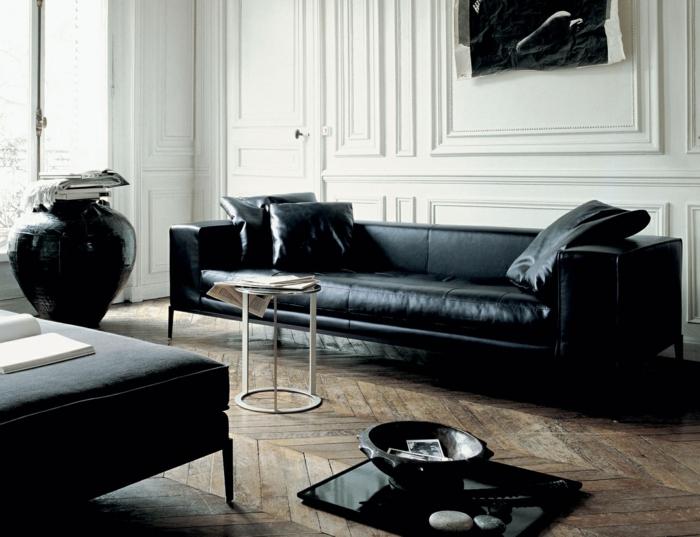 canape cuir noir vieilli