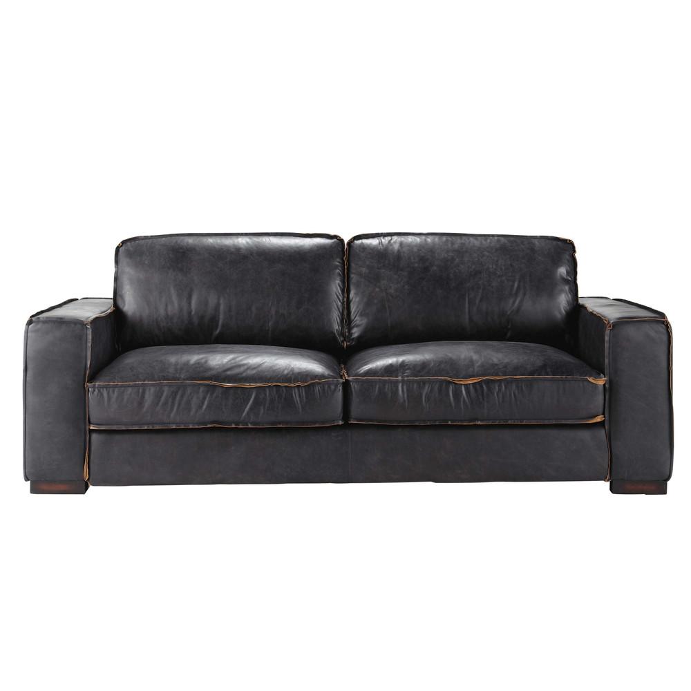 canape cuir noir vintage