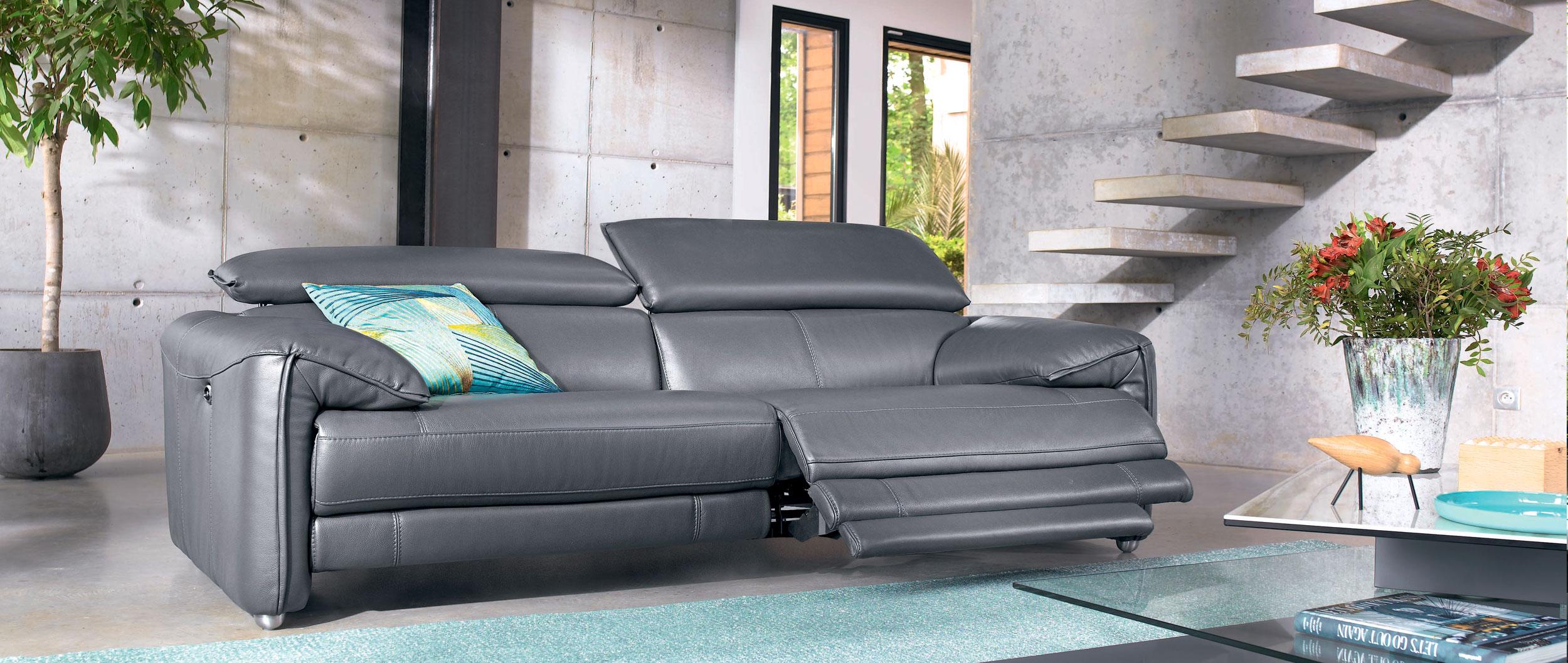 canape cuir relax electrique 3 places cuir center