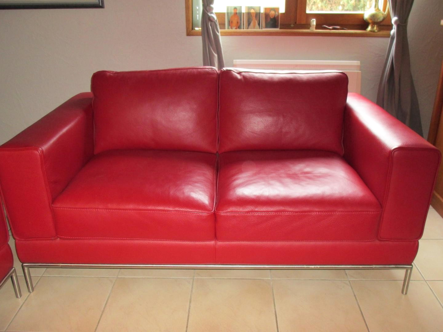 canape cuir rouge occasion