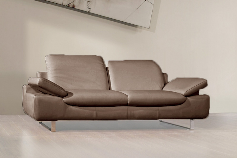 canape cuir taupe 3 places