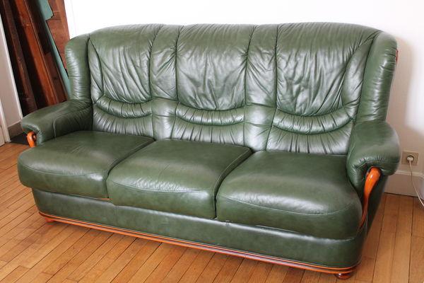 canape cuir vert