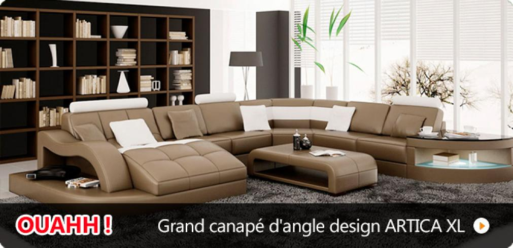 canape d'angle cuir 9 places
