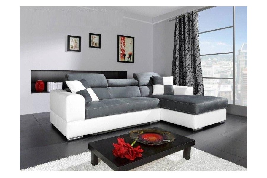 canape d angle cuir blanc et gris