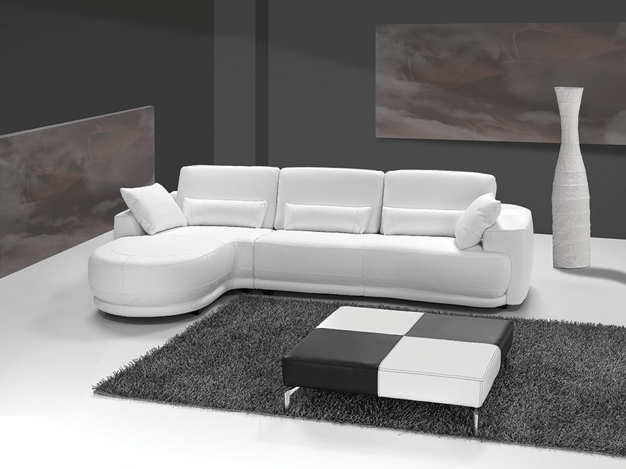 canape d'angle cuir blanc italien